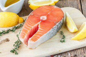 Fresh raw salmon steak