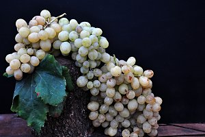 grapes bunch and leaf fall