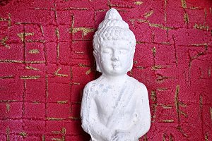 lord Buddha on red gold  background