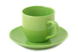 Green teacup and saucer