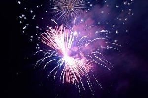 Fireworks with black sky