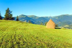 Summer mountain village farm