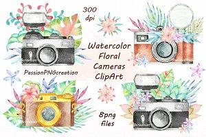 Watercolor Floral Cameras Clipart