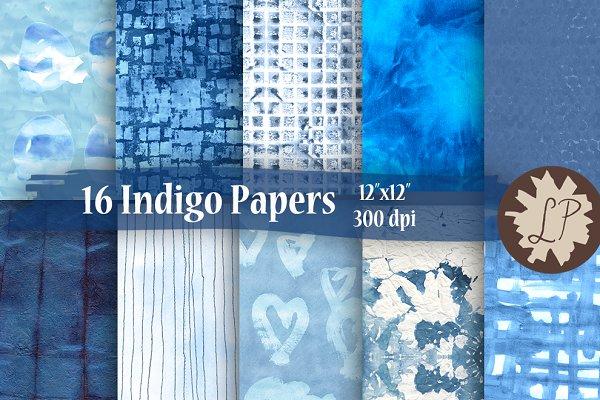 16 Indigo/Shibori Watercolour Paper…