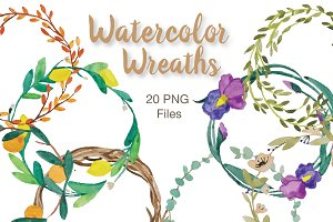Hand Painted Watercolor Wreaths
