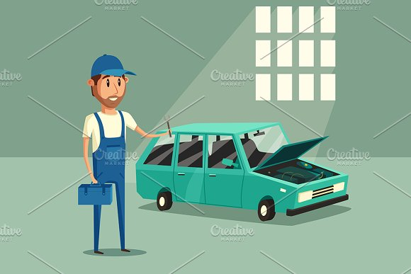 Car repair. Funny mechanic - Illustrations