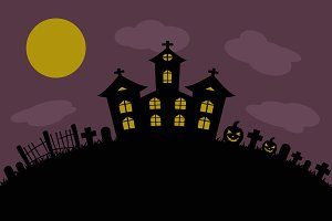 halloween background castle cemetery