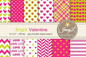 Valentine's Day Hearts Digital Paper
