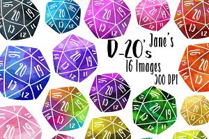 Watercolor D-20 Dice Clipart