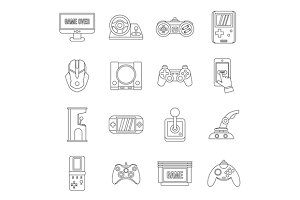 Video game set, outline style