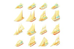Sailing ship icons set