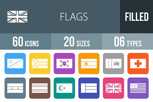 60 Flags Flat Round Corner Icons