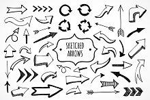 Cute sketched arrows in vector