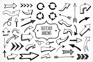 Cute sketched arrows in vector