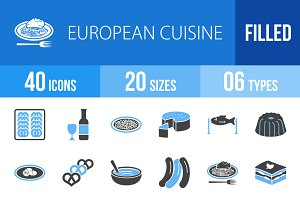 40 Cuisine Blue & Black Icons