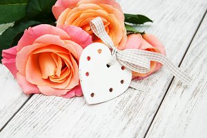 Pink roses with heart