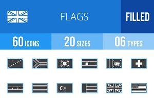 60 Flags Blue & Black Icons