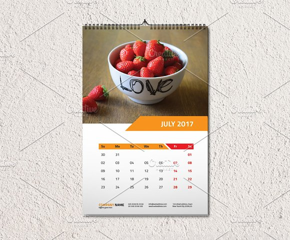 Wall Calendar Template 2017 V1 Stationery Templates Creative Market