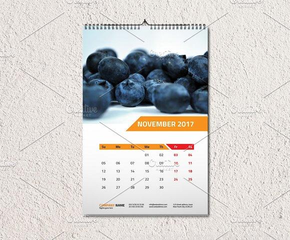 Wall Calendar Template 2017 V1 Stationery Templates Creative Market