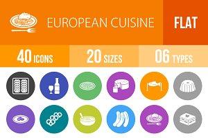 40 European Cuisine Flat Round Icons