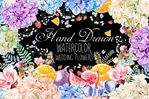 HandDrawn WATERCOLOR Wedding Flowers