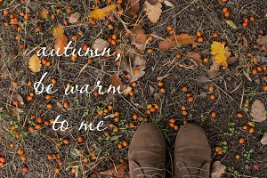 Fall background with Boots