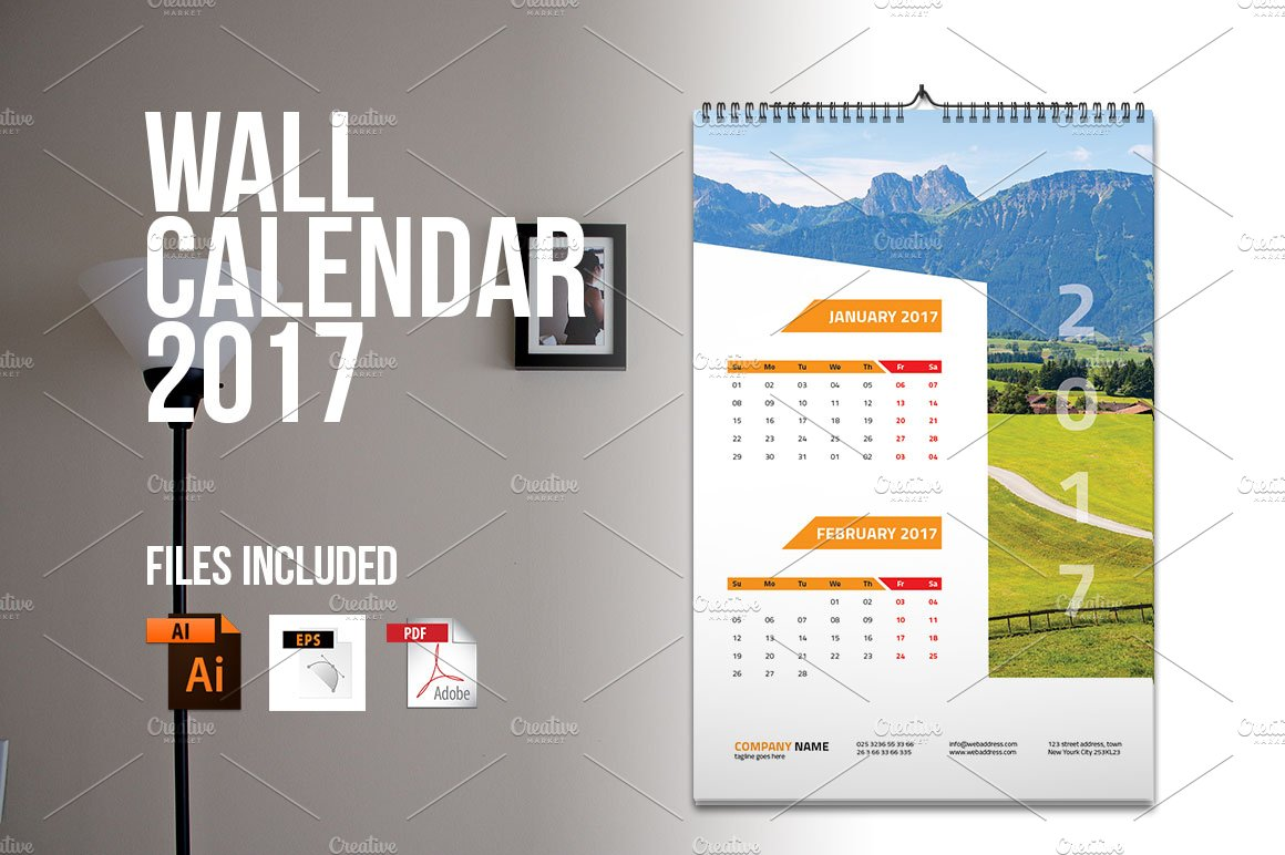 Hanging Calendar Design : Wall calendar v stationery templates creative market
