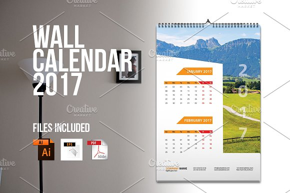 Wall Calendar Design Templates : Wall calendar v stationery templates on creative