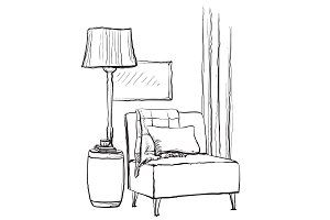 Interior sketch. Chair and lamp