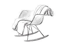 Rocking chair. Interior sketch