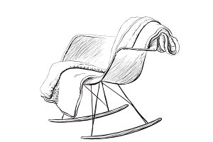 Rocking chair. Interior sketch