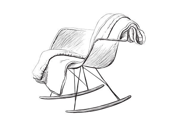 Rocking chair. Interior sketch - Illustrations