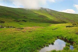 Summer Carpathian mountain lake