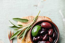 Olives with sage leaves