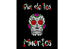 Sugar skull. Day of the dead banner