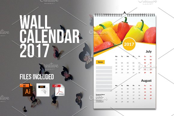 Wall Calendar Template 2017 V4 Stationery Templates Creative Market