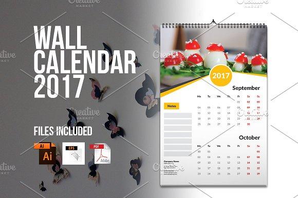 Wall Calendar Template 2017 V4 Stationery Templates Creative Market
