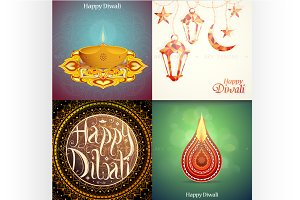Diwali greeting cards set