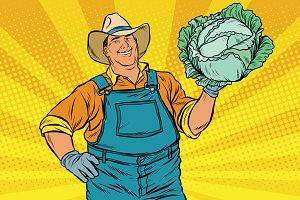 Rural retro farmer and cabbage