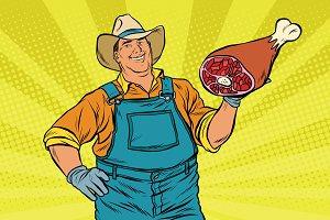 Rural retro farmer and meat leg