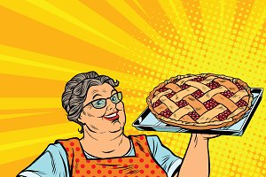 retro woman with berry pie