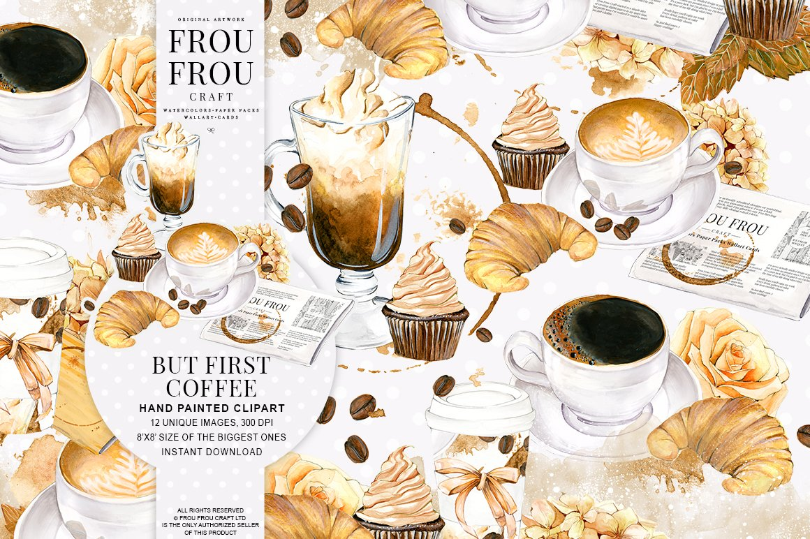 Coffee watercolor clipart illustrations creative market for Coffee watercolor