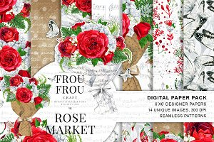 Watercolor Red Roses Paper Pack