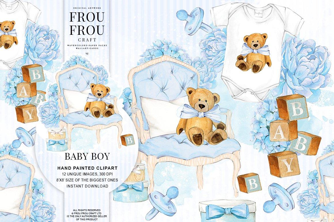 Watercolor Baby Boy Nursery Clipart Illustrations