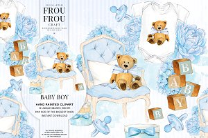 Watercolor Baby Boy Nursery Clipart