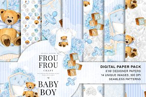 Watercolor Baby Boy Paper Pack