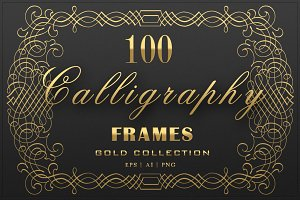 100 Calligraphic Vector Frames Set