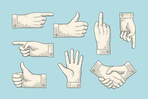 Set of vintage drawing of hand signs