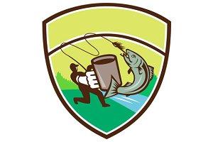 Fly Fisherman Mug Salmon Crest Retro