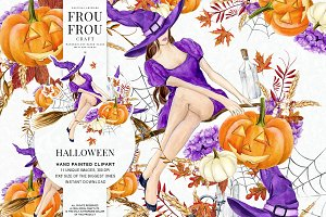 Halloween Watercolor Clipart